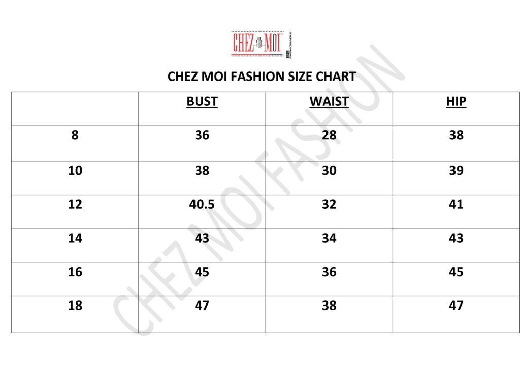 CHEZ MOI FASHION SIZE CHART